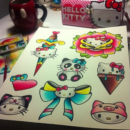 Hello Kitty Tattoo Flash-Traditional and Amazing!  Pretty sure just found my next tattoo :)