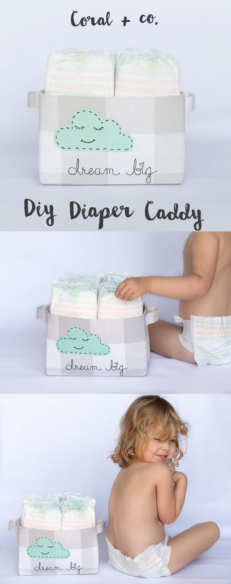 DIY Fabric Basket Tutorial.  Make your own Diaper Caddy Tutorial with a embroidered cloud.