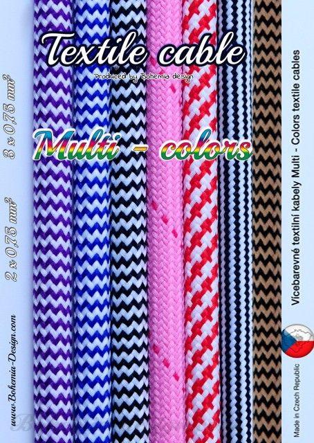 Textilní kabel Zig Zag 3 x 0,75 mm2 barevné opletení