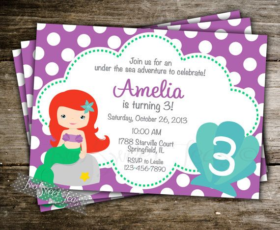 Ariel Little Mermaid Invitation Birthday Inspired Princess Polka Dot Under The Sea Party Digital Printable DIY