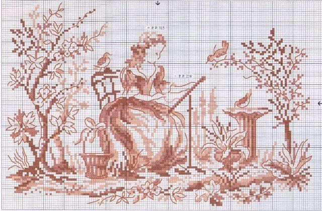 Toile de jouy.  Another example of French red work: pattern.