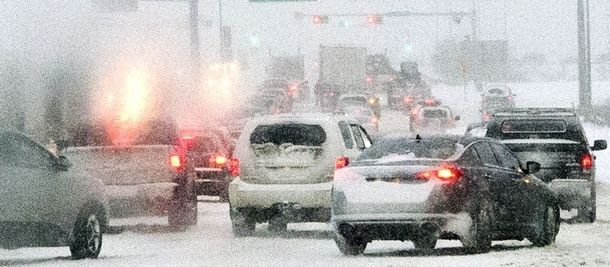 Traffic was bumper to bumper along 170 Street Thursday late afternoon during a winter storm that hit across Alberta.