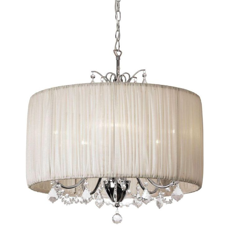 Radionic Hi Tech Victoria 5-Light Polished Chrome Crystal Chandelier with Oyster Organza Shade-VIC-205C-PC-317 - The Home Depot