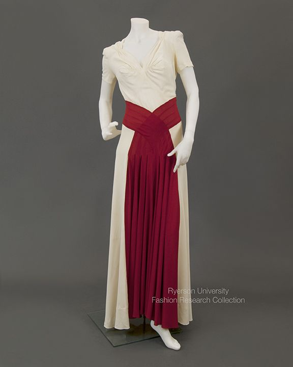 Bias cut jersey evening gown with red panel insert and back zipper, c.1930s. FRC1995.02.001