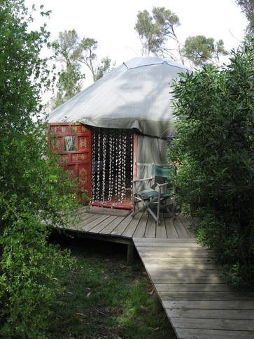 Yurt Accommodation at Galleria del Mare in Rhyll, Victoria, is just a few steps from the beach and located just outside of Rhyll village. For more information and to book, see http://www.stayz.com.au/108626.