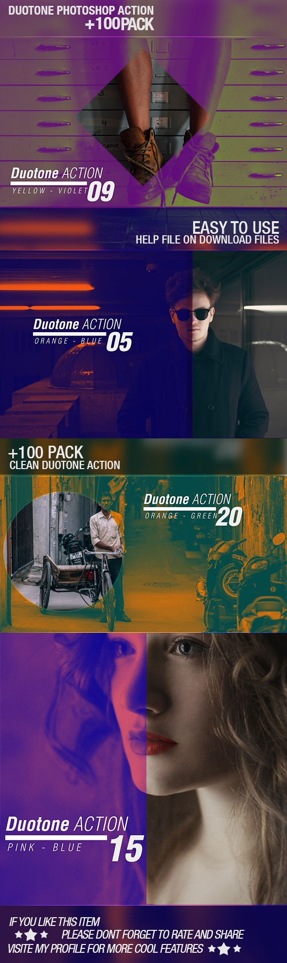 Add +100 completely different trending Duotone effects to your photos. Takes only a single click. Non-destructive Workflow. High quality result. Detailed help/Instructions PDF file included. Completely experimented & tested. Easily editable & combinable effect. For Adobe Photoshop