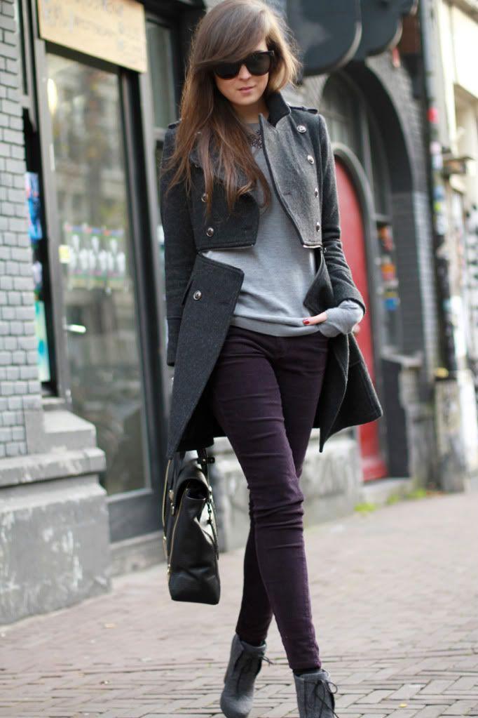 Dark purple pants- love this entire look