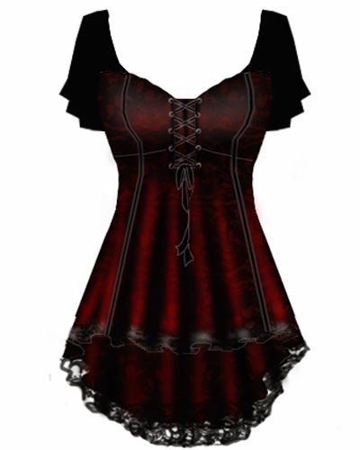 Blueberry Hill Fashions : Gothic Corset Lace Top PLUS SIZE FASHIONS