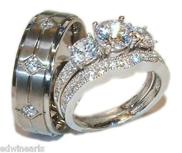 his hers 3 piece vintage style wedding ring set sterling silver titanium starting