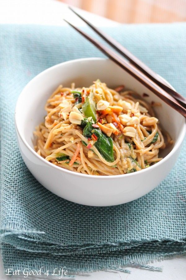 Peanut and coconut noodles. This is done in just 20 minutes and is much healthier and tastier than take out. You can add any other veggies of your choice. #cleaneating #vegetarian #vegan
