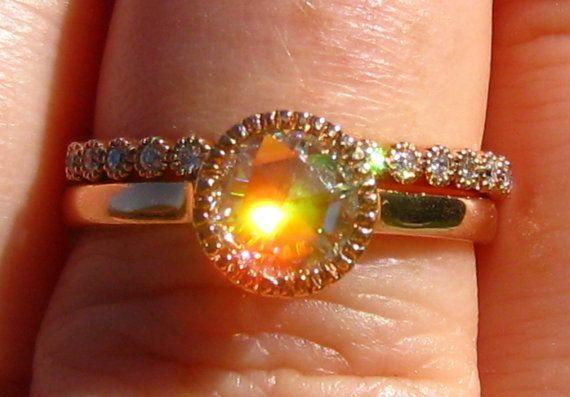 Rose Cut Moissanite and Diamonds in Rose Gold Milgrain Bezel Engagement Ring, Wedding Band, Wedding Set, by JuliaBJewelry, $1095.00