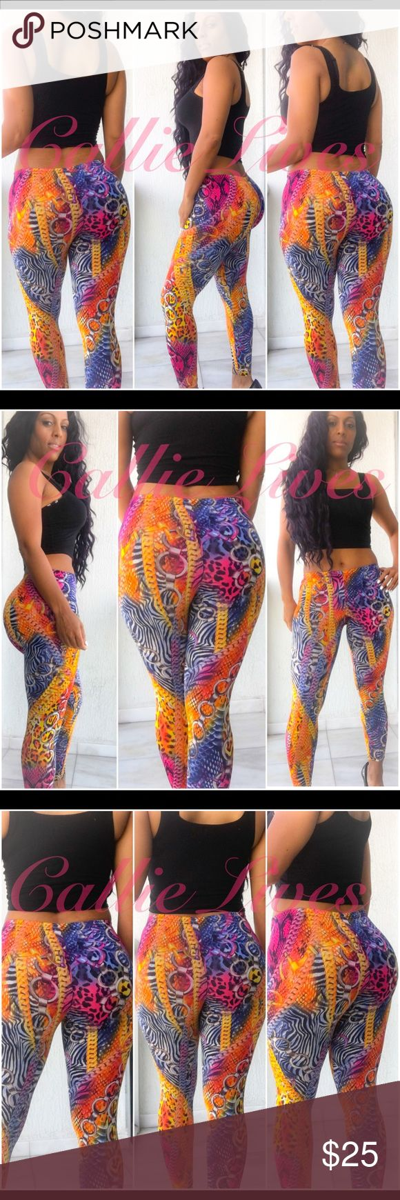 """Bodycon Silky Leggings Rainbow Chain Animal Print PRICE IS NEGOTIABLE. USE OFFER BUTTON. Bodycon Silky mix... not like cotton. I'm wearing this size and I'm 42.5 inches in the hips. Do not purchase these if your hips are bigger than 42.5 inches. Tag Size: L/XL But they Fit More Like Medium/Large for Women size 7-9 Measured Laid Flat (Double for Minimum fit) Waist 14"""" Hips 17"""" Length 35"""" Inseam 28"""" These leggings should fit a Waist 26""""-32"""" and Hips 34""""-42"""". Callie Lives Pants Leggings"""