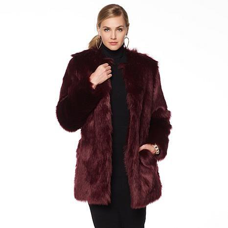 Wendy Williams Faux Fox Jeweled Tone Jacket