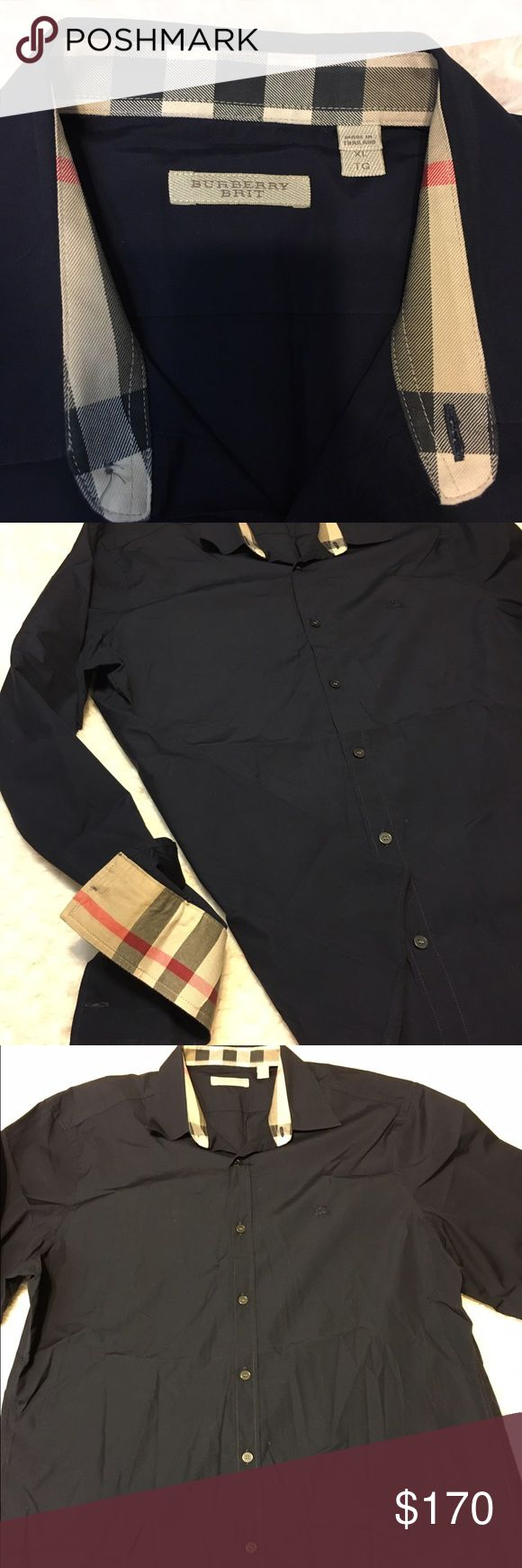 New authentic burberry shirt for men xl New without tags burberry shirt for men 100% authentic original price is 265$ navy blue color size XL Burberry Shirts Casual Button Down Shirts