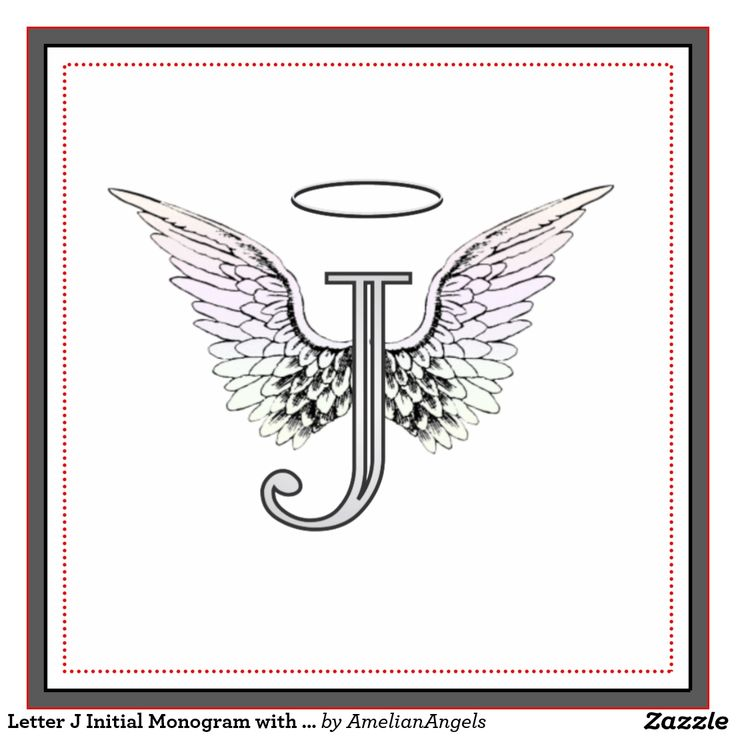 Letter J Initial Monogram with Angel Wings & Halo Tile                                                                                                                                                                                 More