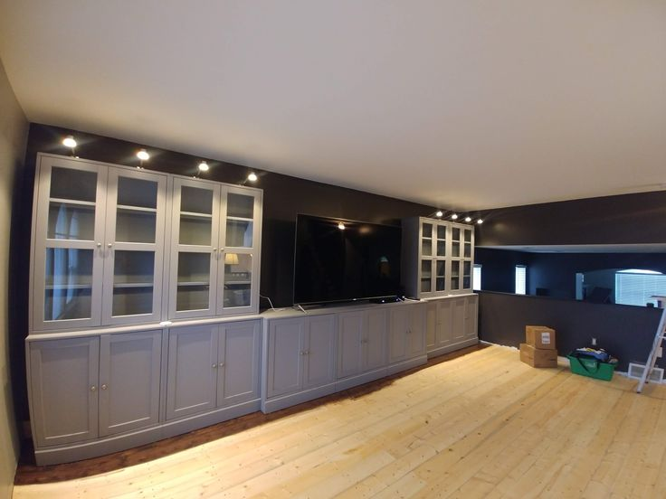 Pine Floor Are In Love The Kona Stain Ikea Havsta Cabinets Are Placed With The Lights On Top