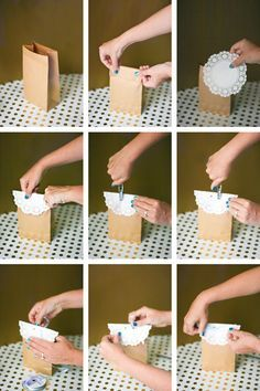 bachelorette party survival kit packaging tutorial steps - a paper sack, a doily and some ribbon makes a really cute and inexpensive favor bag!