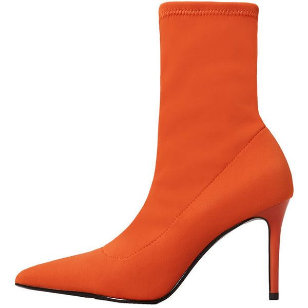 MANGO Heel sock boots ($80) ❤ liked on Polyvore featuring shoes, boots, orange, pointy high heel shoes, pointed shoes, pointed-toe boots, high heeled footwear and high heel shoes