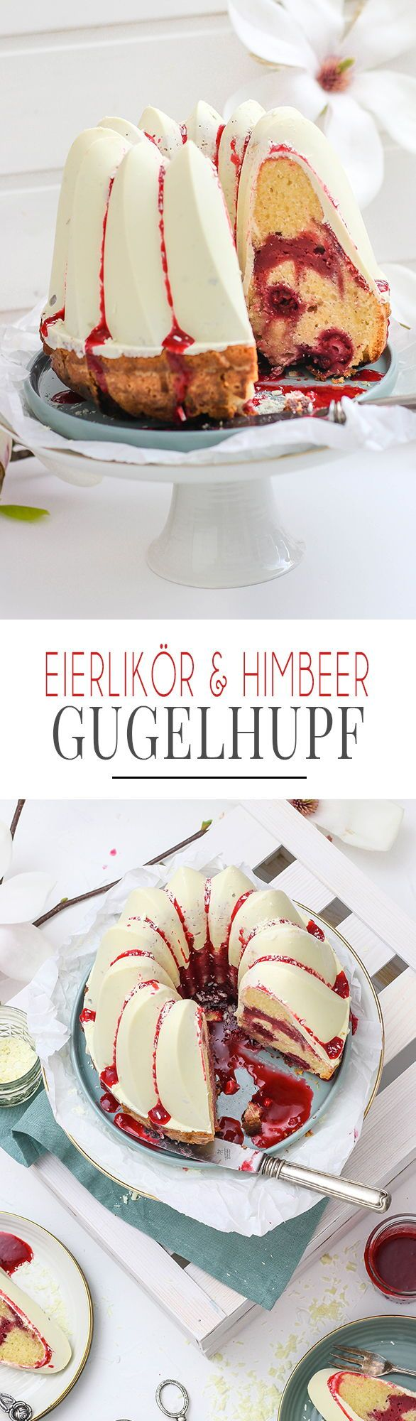 Last Minute Easter Eggnog Himbeer-Pound-Cake mit weißer Schokoladenglasur, Himbeer …   – Food: KüchenDeern Rezepte