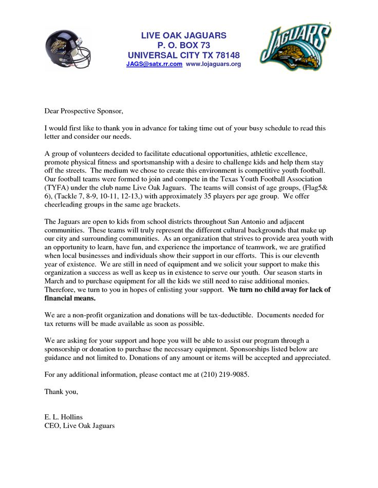 letters for sports teams youth sponsorship letter team