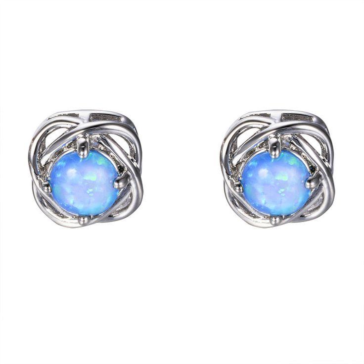 Vintage Fashion Blue/White Fire Opal Stud Earrings for Women 925 Sterling Silver Four-Claw Ear Studs Wedding Earring Ear0610