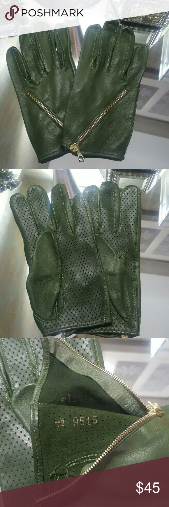 Leather driving gloves with zipper - Olive Leather Driving Gloves Superfine Brand With Serial Numbers Olive Green Leather With
