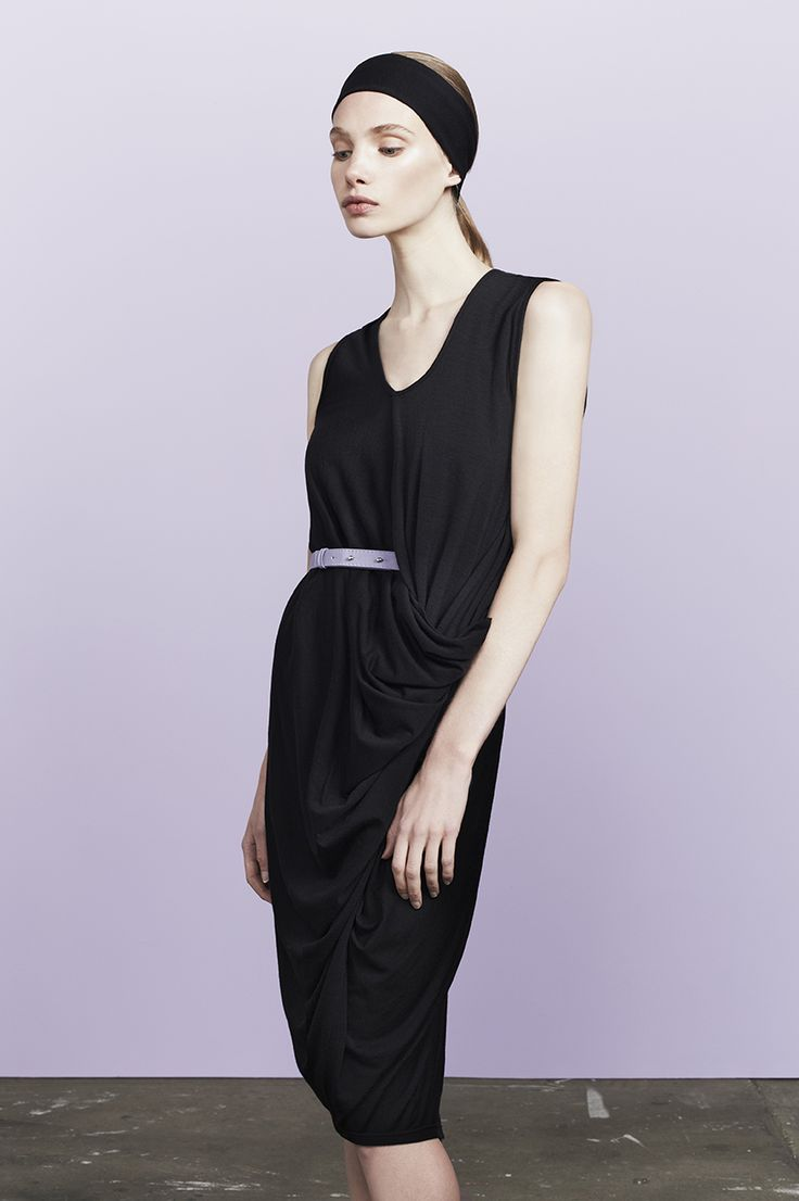 Deller all in one twist drape dress in merino wool