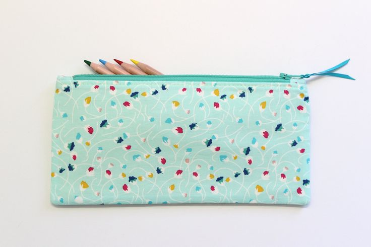 Blue Pencil Pouch, Pencil Case, Small Makeup Bag, Makeup Bag For Purse, Travel Makeup Bag, Gifts Under 20 by LittleFoxSewsLots on Etsy
