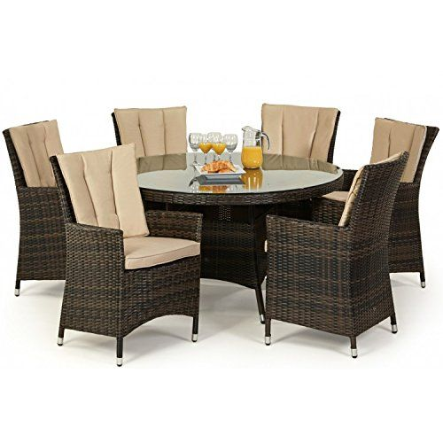 San Diego Rattan Garden Furniture Brown 6 Seater Round Table Set
