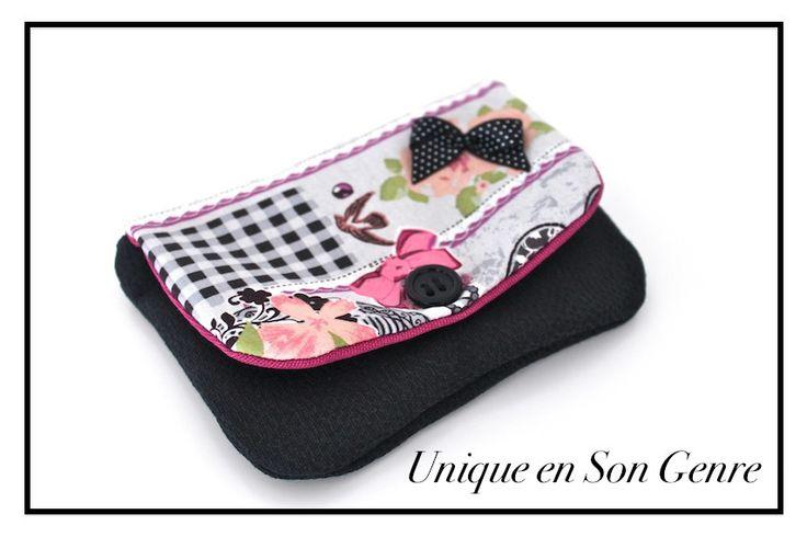 Porte-monnaie avec fermeture rabat. Noir & rose, petit noeud : Porte-monnaie, portefeuilles par uniquensongenre