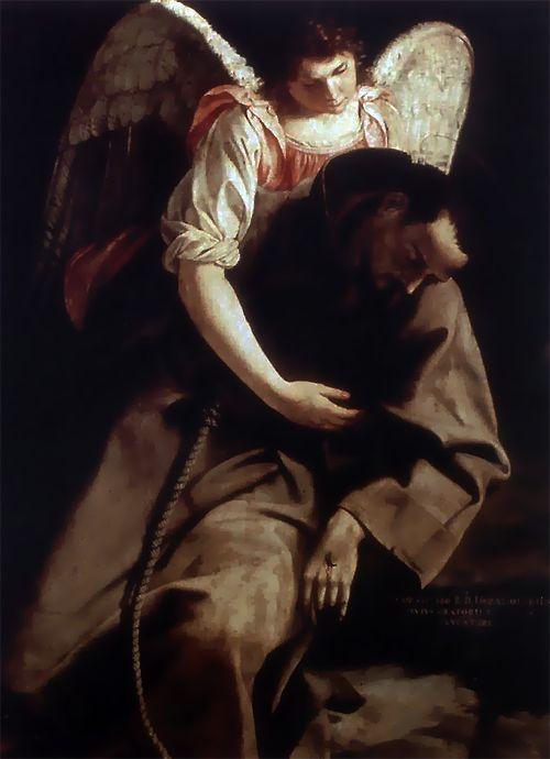1612Artemisia Gentileschi (Italian; 1593-1656) ~'St. Francis and Angel'