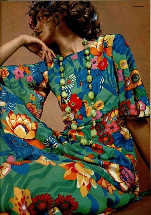 Floral maxi dress, L'Officiel 1970--great print.