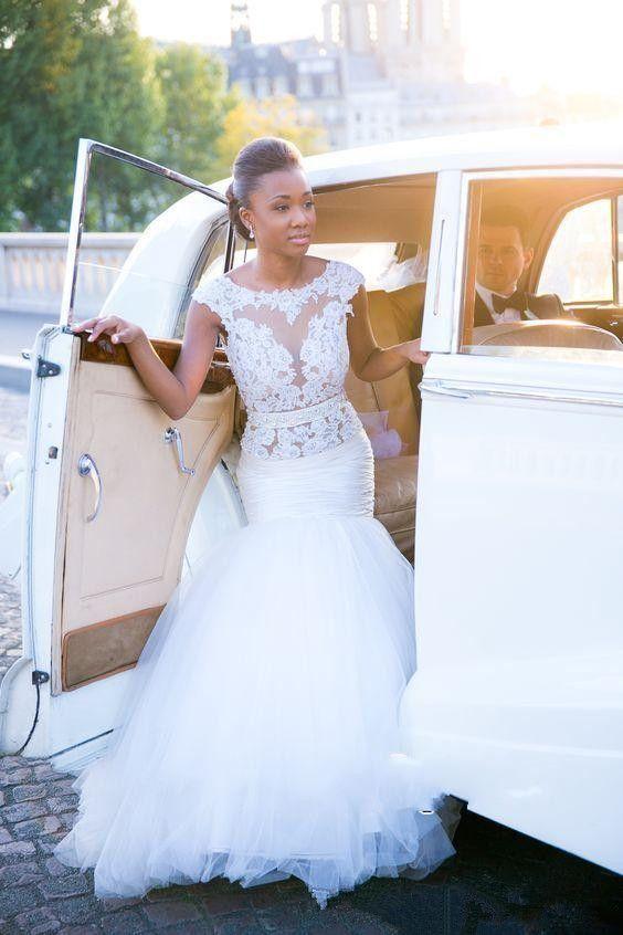 Elegant O Neck Mermaid Wedding Dress 2017 White Open Back Lace Appliques  Sweep Train Custom Made