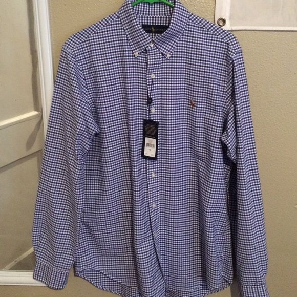 """Men's Ralph Lauren Dress Shirt Medium NWT Brand new with tags Ralph Lauren Men's Button Down Sport Shirt. According to tag """"Chatum Blue"""" with black plaid strips. A lot softer than most dress shirts, making it wearable for a causal occasion. Size Medium Polo by Ralph Lauren Shirts Casual Button Down Shirts"""