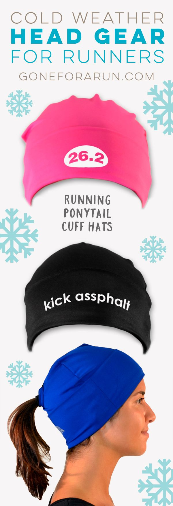 Our moisture-wicking ponytail cuff hat features a ponytail opening in the back for a comfortable fit and has a front panel with a large, folded cuff that you can roll any way for a great look and your ideal fit. With a variety of colors and mantras, this is a great gift for any runner.