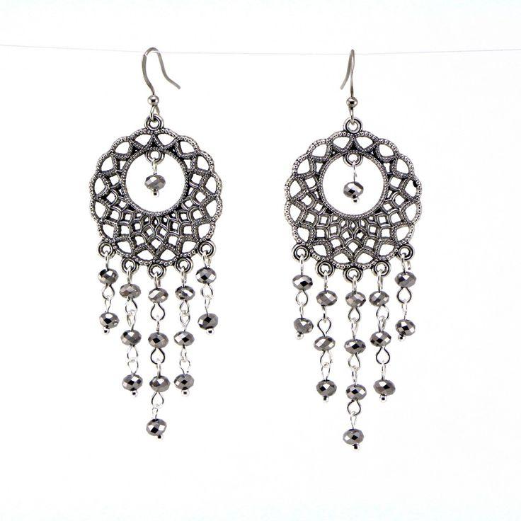 Ilookia - Boucles d'oreilles Persée perles argentées