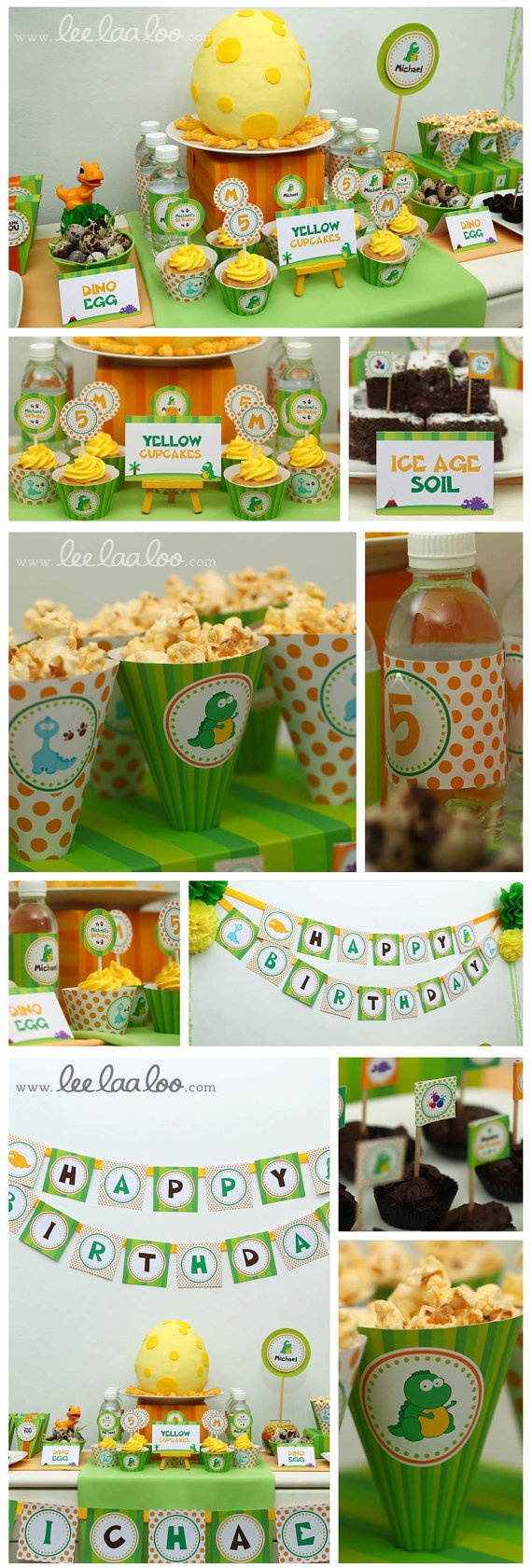 Dino Dinosaur Birthday Party Package Personalized by leelaaloo, $29.00
