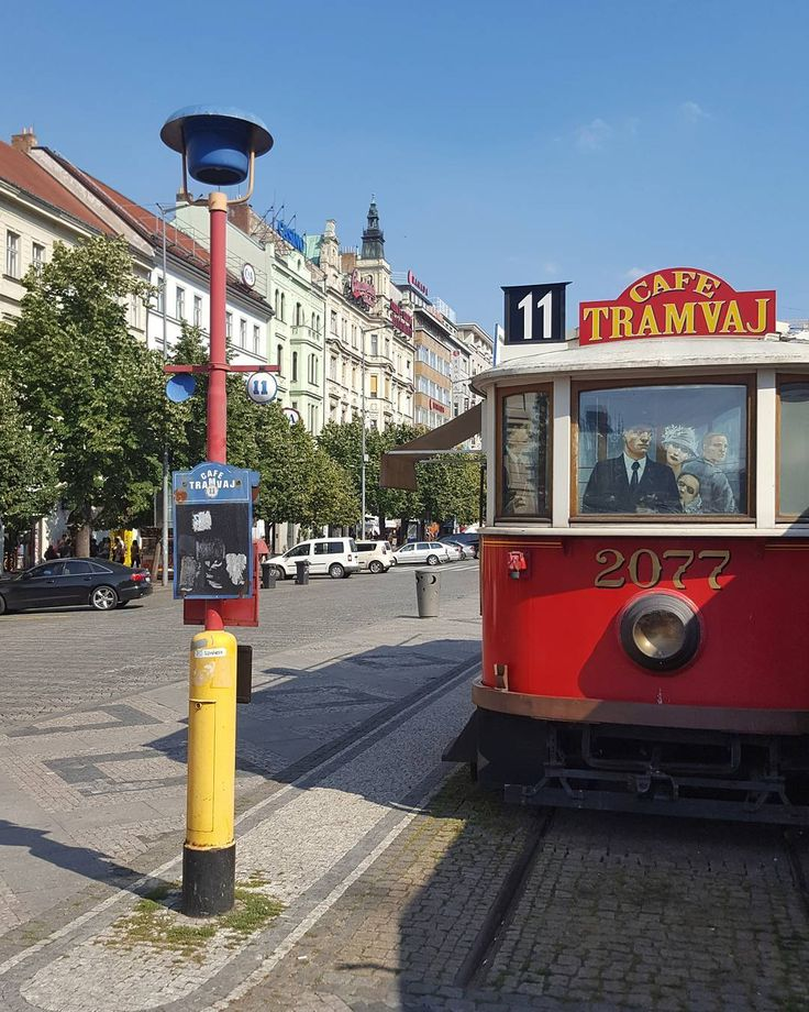 Café Tramvaj at the Wenceslas Square in Prague  #prague #travel #afternoon #wenceslas #square #cafe #tram #tramway #train #coffee #bluesky #summer #street #streetphotography #galaxys6