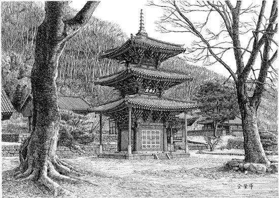 종이에 먹펜, 42×58㎝, 2010   중국을 '전탑(벽돌로 만든 탑)의 나라', 일본을 '목탑의 나라'라 하고 한국을 '석탑의 나라'라 합니다. 각국마다 탑을 만드는 데 주로 쓰인 재료가 달랐기 때문입니다. 좋은 목재가 풍부한 일본에는 오래된 목탑이 51개나 된답니다. 그럼 우리나라에는 목탑이 없었을까요?