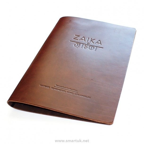 Personalised menu covers are available in the saddle hide material with Smart Hospitality Supplies.