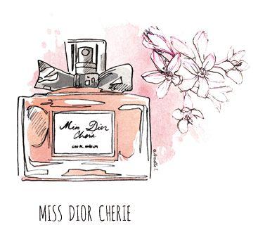 miss dior cherie perfume illustration by armelle tissier