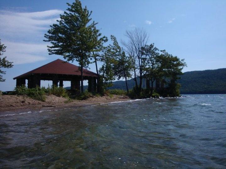 Silver Bay Lake George, Slim Point Beach Pavilion, looking north
