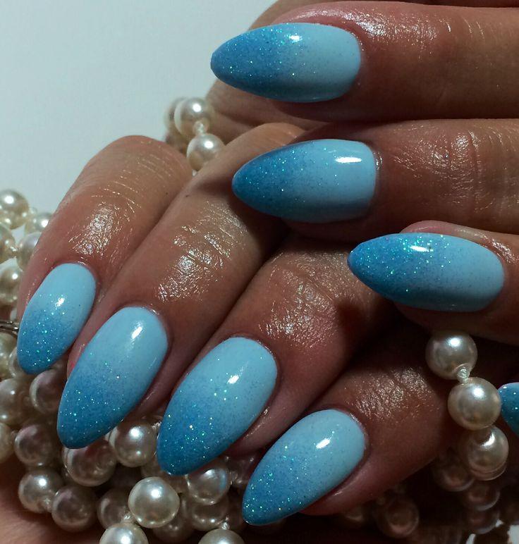 Blue Ombré Nails  Summer 2014 Almond Nail Nail Art Design #ByMargarita