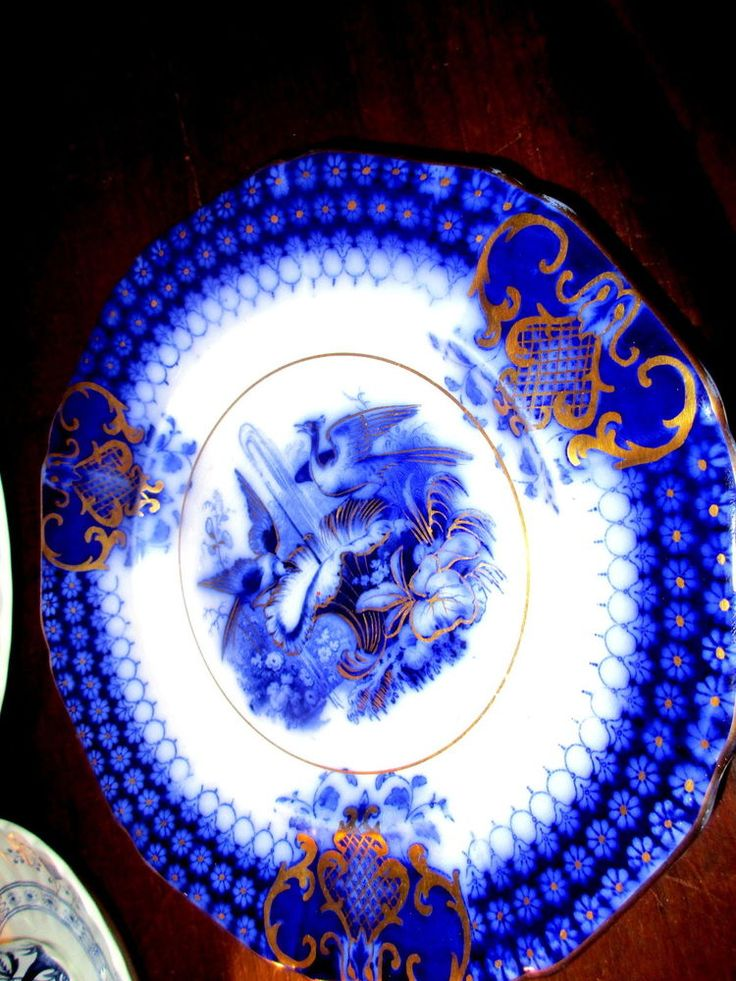 "Flow Blue Plate 8"" India Pattern V&B Villeroy and Boch c.1800's birds gold trims"