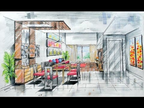 One-point Interior Design Perspective Drawing Manual Rendering How to Tutorial Lessons 5 Watercolour - YouTube