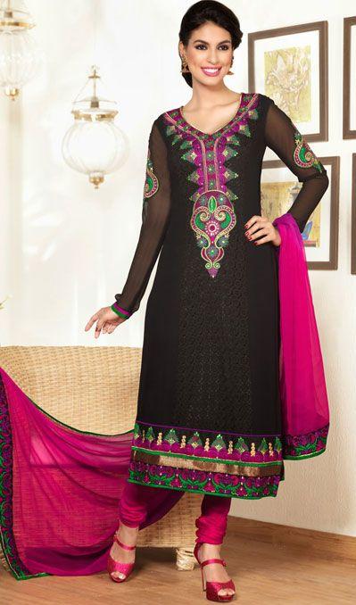 USD 86.57 Black Georgette Resham Work Churidar Suit 40494