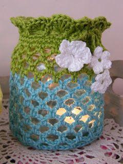 frsasco forrado a crochet , para adorno o poner velita para iluminar un rincon...