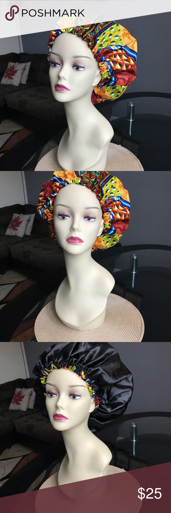 "Ankara Bonnet Please tell us the color of Satin you want under your bonnet. Chose from the available satins we posted.   The bonnet has 100% Ankara Dashiki Fabric on one side, and 100% quality Silky soft satin fabric on the other side. We choose the most modern beautiful vibrant colors of African Ankara prints for our bonnets.   The standard adult size elastic band measures 24"". And the diameter is 34"".  Please visit my shop and let me know if you want your bonnet with any other fabric you…"