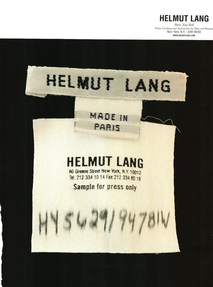 Vintage Helmut Lang ad.
