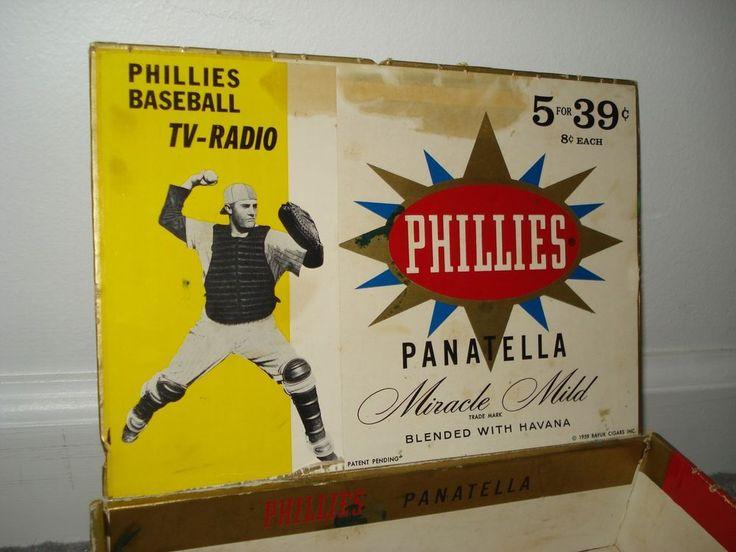1959 PHILLIES CIGAR BOX w/PHILADELPHIA PHILLIES BASEBALL CATCHER ON INSIDE, NICE #PhiladelphiaPhillies